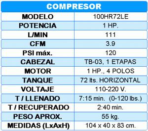 Compresor De 1 Hp T 72 Lts C Ruedas Horizontal 100hr72le
